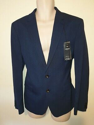 £70rrp BNWT Marks & Spencer Blue Suit 42S Slim Fit Indigo Check Jacket