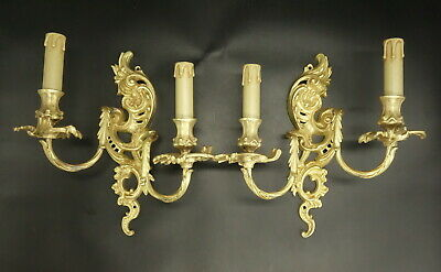 Large Pair Of Sconces, Rococo Style, Early 1900 - Bronze - French Antique