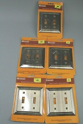 Vintage Amerock Double Switch Accent II C-4384-AE Metal Cover Plate Lot of 5