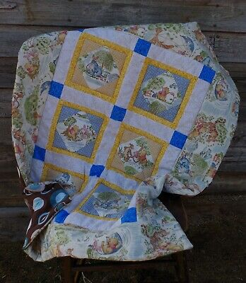 Handmade Windy Day Winnie the Pooh Baby Patchwork Quilt Cotton Blanket Unique