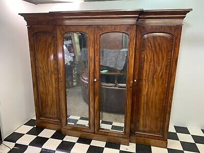 Huge antique Clements Newling mahogany breakfront wardrobe linen press compactum