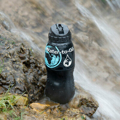 Water to Go Portable Water Purification Filter - 75cl Bottle - BLACK