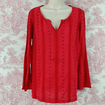 Motherhood Maternity Blouse Top Red Size M Long Sleeve Peasant