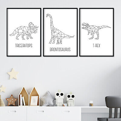 Dinosaur Nursery Prints Set Of 3, Poster Wall Art Decor Kids Baby Room Pictures