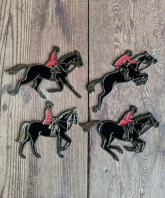Vintage Horse Plaques Invicta Show Jumpers Self-Adhesive Set/4 1966