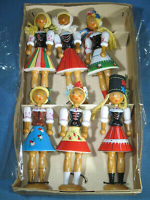 Set of 6 Hand Painted Peg Wood Dolls Made in Poland Viking New York in Box EXC