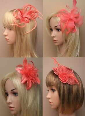 Coral Pink Flower & Feathers or Hat Fascinator Wedding/Bridesmaids Designs