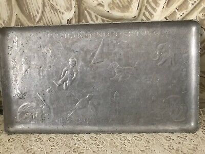 Wendell August Forge Vintage Aluminum Childs Tray Animals Alphabet CUTE!