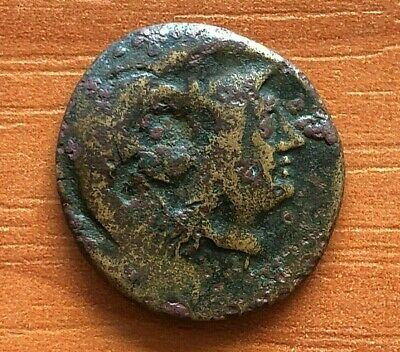 "Ancient Greek Bronze Coin AE21 with Countermark ""Athena"" Unknown."