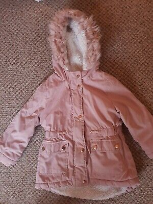 Primark Girls Pink Fur Lined Parka Coat Age 2-3 Years