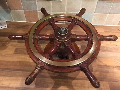 Vintage Original Mahogany Brass Ships Wheel Helm Maritime Marine Nautical Boat