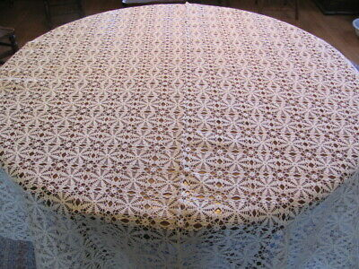 Vintage hand crocheted lovely cream color lace tablecloth 60 x 67 inches