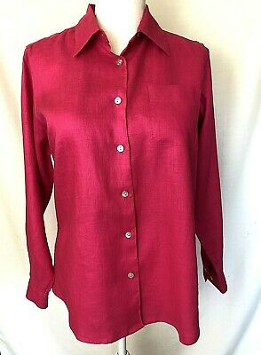NEW Petite Sophisticate Women's Linen Top Shirt Size S Small Pink Button Front