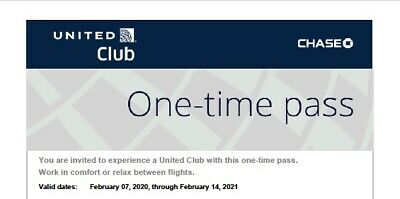 Two (2) UNITED CLUB PASSES (exp. 02/14/2021). FAST email delivery