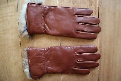Soft Dark Caramel Brown Leather BROOKS BROTHERS 346 Fur Lined Gloves Medium