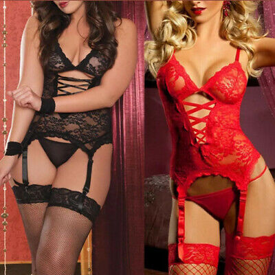 Sexy Lingerie Nightwear Midnight Affair Sleepwear Underwear Wristband Stockings