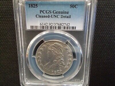1825 Capped Bust Half Dollar Unc PCGS light cleaning, Flawless!