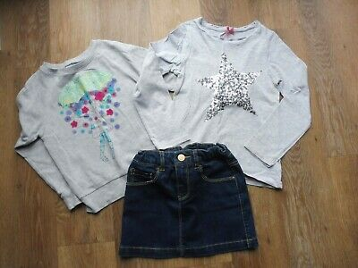 Age 7-8 great Girl's outfit bundle - sweatshirt, top & Zara denim skirt
