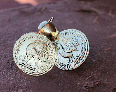 BRASS  Moroccan hand made gold colour cockerel French 10c coin earrings 2cm