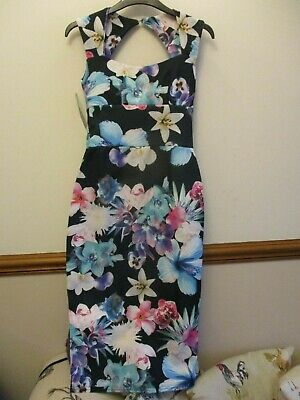 Ladies Floral Bodycon Formal Party Wedding Occasion Dress Size 8 Bnwt