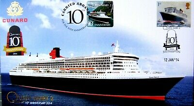 PNC Ship RMS Queen Mary 2 10th Anniversary 2014 with Matching Stamp  + Postcard