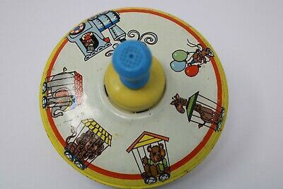 Antique Childs Ohio Art Circus Animals Toy Spinner Top Tin Metal