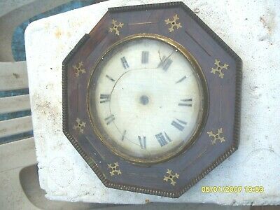 Front Clock Dial And  Wooden Face Brass In Lay  Spares To  Repair Postman Clock