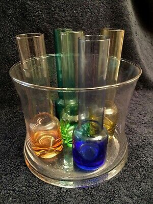 6 Pcs. Entertainment Set With 5 Colored Glass Shooters and Ice Bucket Set