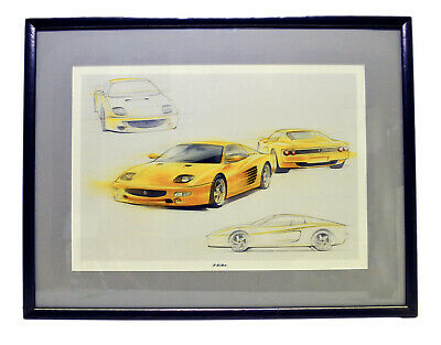 FERRARI F512M Official Works Concept Sketches Limited Edition Framed Art Yellow