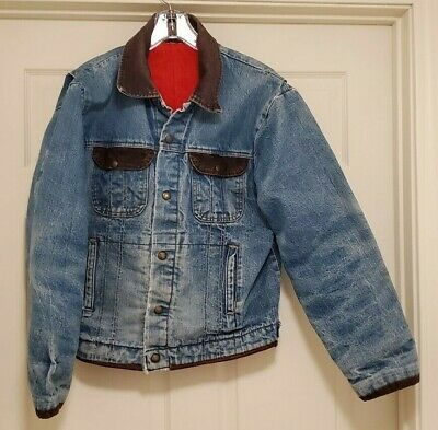 Vintage Key Imperial Insulated Thick Quilted Barn Denim Jacket Sz 44 L