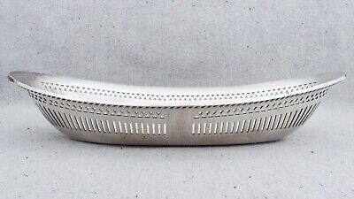 """WW2 USN US Navy Silver Soldered Reticulated Bread Roll Basket Serving Dish 12¼"""""""