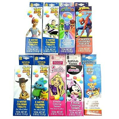 Bathtub Fizzies pack of 8 water coloring tablets NEW Choose Your Character