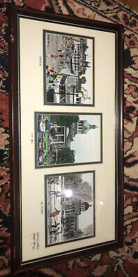 Trio of Canada Kingston Ontario Original Ink Drawings Signed Framed 10.5 x 21.5