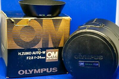 OEM Lens Hood for Olympus OM 24mm f2.8, with Lens Box, Case, and Accessories.