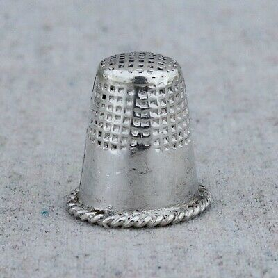 Vintage Handmade Sterling Silver Sewing Quilting Thimble Braided Rope Trim