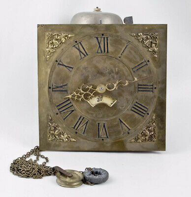 English 30 hour brass dial hooded wall clock movement @ 1800s Nice