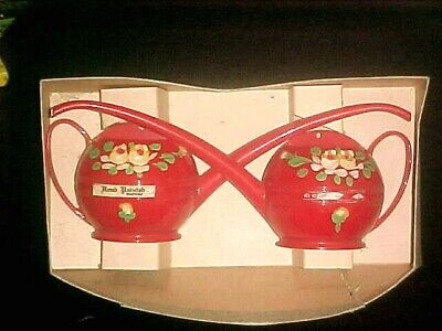 Vintage Pair Red Plastic Handpainted Watering Cans Wall Hangings