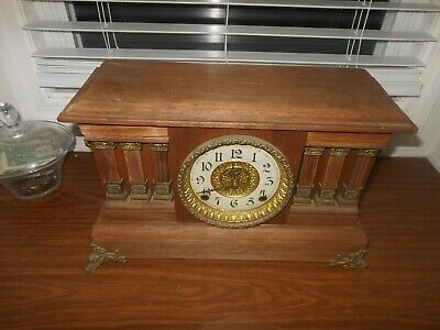 vintage mantel clock for parts or repair american manufacture tag on the back