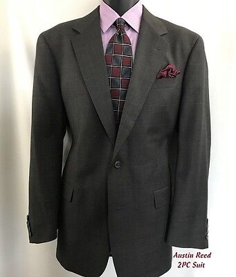 AUSTIN REED U.K. Men's 2PC Suit Size 48L 2 Button W 36 2Pleat Wool Brownish/Gray