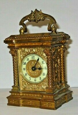 Rare Antique Waterbury Fancy Ornate Brass Carriage Clock Working Condition