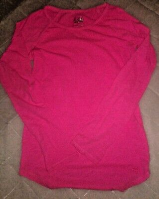 Justice Girls Size 12 Long Sleeve Hot Pink Tee