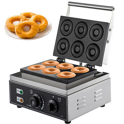 Commercial Donut Maker Doughnut Baker 6Hole Electric Waffle Maker Nonstick 1550W