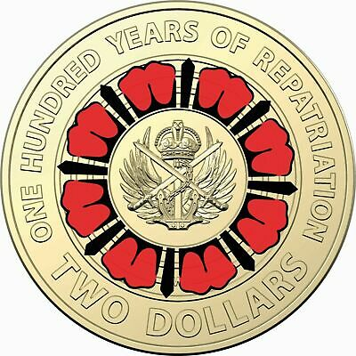2019 $2 Coin 100 Years Of Repatriation Anzac's Red Poppy Uncirculated 01