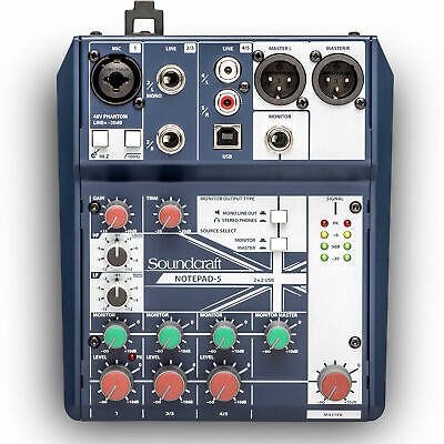 Soundcraft Notepad-5 Mixer w/ 1x Mic Preamp, 2x Stereo Channels, USB Input