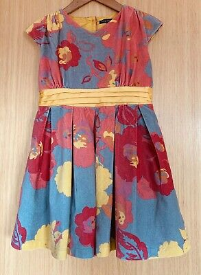M&S Girls Dress Age 5 6 Autograph Velour Floral Party Occasion Christmas Bright