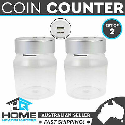 2x Digital Coin Counter Money Counting Jar Electronic Piggy Bank Saving LCD Box