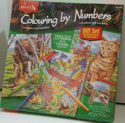 Reeves Colouring By Numbers Painting Colored Pencils Gift Set Horse Bird Cat