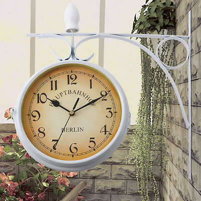 Antique Double Sided Wall Mount Station Clock Garden Vintage Retro Home Decor