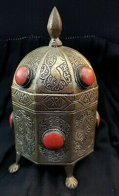 Wonderful Antique Silver on Brass Egyptian Box Hand Carved With Red Jesper Stone