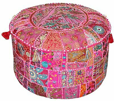 Indian Handmade Patchwork Pink Ottoman Pouf Cover Living Room Foot Stool Cover